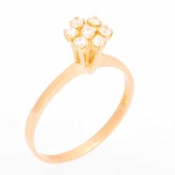 Anel De Ouro 18k Chuveiro Com 7 Zircônias - 101513 - Fábrica do Ouro