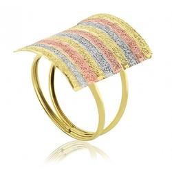 Anel De Ouro 18k Tricolor Retangular Diamantado - ... - Fábrica do Ouro