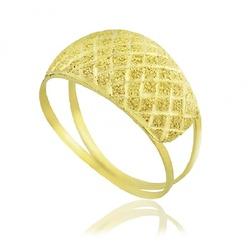 Anel De Ouro 18k Diamantado Xadrez - 101599 - Fábrica do Ouro