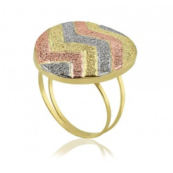 Anel De Ouro 18k Botão Zigzag Tricolor Diamantado ... - Fábrica do Ouro