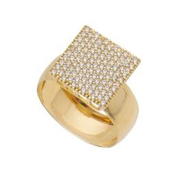 Anel De Ouro 18k Pavê Com Zircônias - 101703 - Fábrica do Ouro