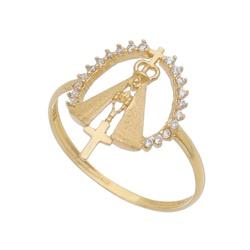 Anel De Ouro 18k Nossa Senhora Cravejado De Zircôn... - Fábrica do Ouro