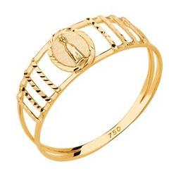 Anel De Ouro 18k Nossa Senhora De Fátima - 101896 - Fábrica do Ouro