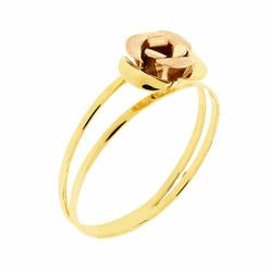 Anel De Ouro 18k Rosa Bicolor - 101932 - Fábrica do Ouro