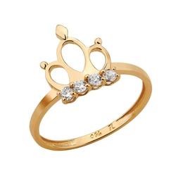 Anel De Ouro 18k Coroa Classic Zircônias - 101958 - Fábrica do Ouro
