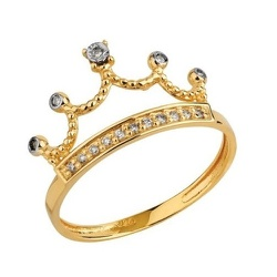 Anel De Ouro 18k Coroa Princess Com Zircônias - 10... - Fábrica do Ouro