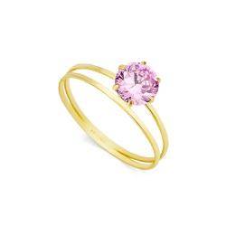 Anel De Ouro 18k Cálice De Zircônia Rosa - 102487 - Fábrica do Ouro