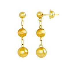 Brinco De Ouro 18k Três Bolinhas - 100361 - Fábrica do Ouro