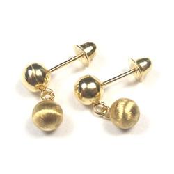 Brinco De Ouro 18k Duas Bolinhas Fosco/brilho De 3... - Fábrica do Ouro