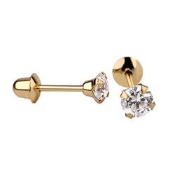 Brinco De Ouro 18k Com Pedra De Zircônia De 4mm - ... - Fábrica do Ouro