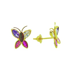 Brinco De Ouro 18k Borboleta Colorida - 100900 - Fábrica do Ouro