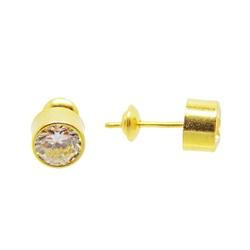 Brinco De Ouro 18k Ponto De Luz De 5mm - 100901 - Fábrica do Ouro