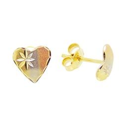 Brinco De Ouro 18k Coração Tricolor - 100941 - Fábrica do Ouro