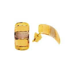 Brinco De Ouro 18k Três Ouros 15mm - 100967 - Fábrica do Ouro