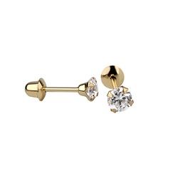 Brinco De Ouro 18k Com Pedra De Zircônia De 3mm - ... - Fábrica do Ouro