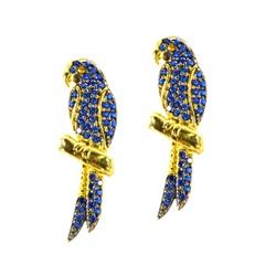 Brinco De Ouro 18k Araras Azuis - 101158 - Fábrica do Ouro