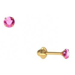Brinco De Ouro 18k Zircônia Rosa De 3mm - 101287 - Fábrica do Ouro