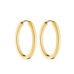 Brinco De Ouro 18k Argola Oval 25mm - 101288 - Fábrica do Ouro