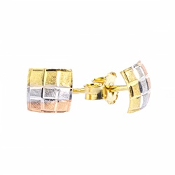 Brinco De Ouro 18k Quadrado Tricolor - 101306 - Fábrica do Ouro