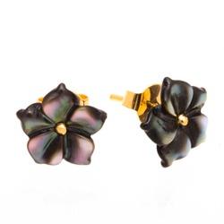 Brinco de Ouro 18K Flor de Madre Pérola Negra de 1... - Fábrica do Ouro