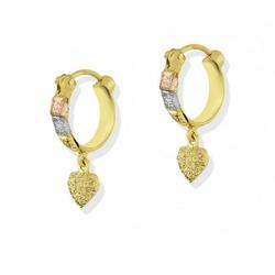 Brinco De Ouro 18k Argola Tricolor Diamantada Com ... - Fábrica do Ouro