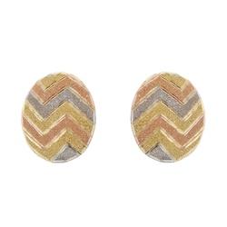 Brinco De Ouro 18k Botão Zigzag Tricolor Diamantad... - Fábrica do Ouro