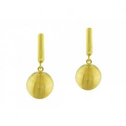 Brinco De Ouro 18k Meia Lua Com Bola Fosca - 10158 - Fábrica do Ouro