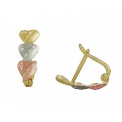 Brinco De Ouro 18k Corações Tricolores - 101593 - Fábrica do Ouro