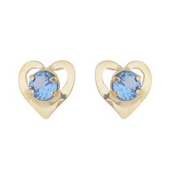 Brinco De Ouro 18k Coração Zircônia Azul - 101710... - Fábrica do Ouro