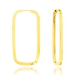 Brinco De Ouro 18k Argola Retangular Com 24mm - 10... - Fábrica do Ouro