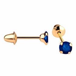 Brinco De Ouro 18k Zircônia Safira De 4mm - 102571 - Fábrica do Ouro