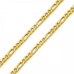 Corrente De Ouro 18k Groumet 3x1 De 3mm Com 50cm -... - Fábrica do Ouro