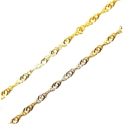 Corrente De Ouro 18k Singapura 2 Tons De 1,5mm Com... - Fábrica do Ouro
