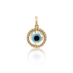 Pingente De Ouro 18k Olho Grego De 5,0mm Com Diama... - Fábrica do Ouro