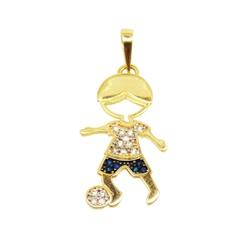 Pingente De Ouro 18k Menino Com Zircônias Azul e B... - Fábrica do Ouro