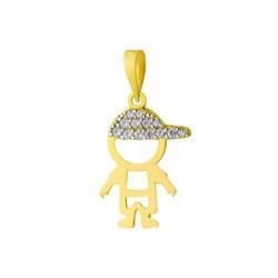Pingente De Ouro 18k Menino Vazado Com Zircônias -... - Fábrica do Ouro