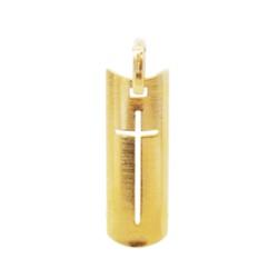 Pingente De Ouro 18k Placa Com Cruz De 27mm - 1009... - Fábrica do Ouro