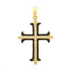 Pingente De Ouro 18k Cruz Com Zircônias - 101646 - Fábrica do Ouro