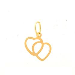 Pingente De Ouro 18k Coração Duplo - 101650 - Fábrica do Ouro
