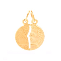 Pingente De Ouro 18k Cara Metade De 16mm - 101653 - Fábrica do Ouro