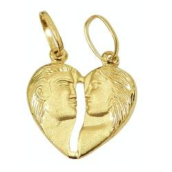 Pingente De Ouro 18k Cara Metade Coração De 12mm -... - Fábrica do Ouro
