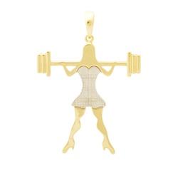 Pingente De Ouro 18k Menina Crossfit - 101663 - Fábrica do Ouro