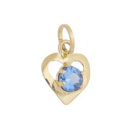 Pingente De Ouro 18k Coração Com Zircônia Azul - 1... - Fábrica do Ouro