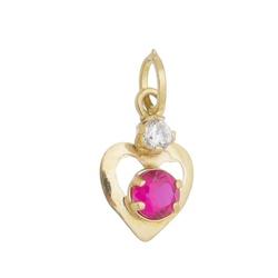 Pingente De Ouro 18k Coração Com Zircônia Rubi - 1... - Fábrica do Ouro