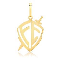 Pingente De Ouro 18k Escudo De Fé Grande - 101996 - Fábrica do Ouro