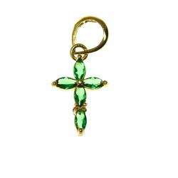 Pingente De Ouro 18k Cruz Com Zircônias Verdes - 1... - Fábrica do Ouro