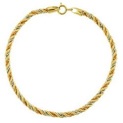 Pulseira De Ouro 18k Corda Tricolor De 2,3mm Com 1... - Fábrica do Ouro