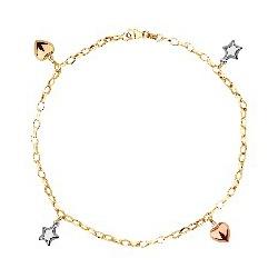 Pulseira De Ouro 18k Corações e Estrelas Tricolor ... - Fábrica do Ouro