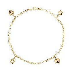 Pulseira De Ouro 18k Corações e Estrelas Com 19cm ... - Fábrica do Ouro