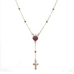 Rosário de Ouro 18k com 60cm e Sagrado Coração de ... - Fábrica do Ouro